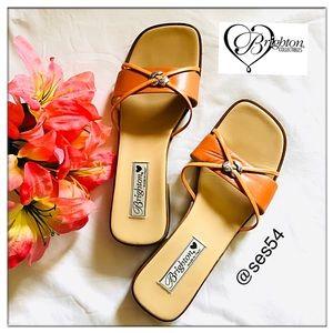 🧡Brighton Leather Loreta Orange slides